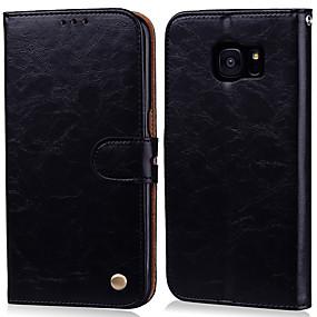 voordelige Galaxy S7 Edge Hoesjes / covers-hoesje Voor Samsung Galaxy S7 edge / S7 Kaarthouder / Flip Volledig hoesje Effen Hard PU-nahka