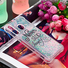 voordelige Galaxy A3(2016) Hoesjes / covers-hoesje Voor Samsung Galaxy A6 (2018) / A6+ (2018) / Galaxy A7(2018) Schokbestendig / Stromende vloeistof / Patroon Achterkant Woord / tekst / Glitterglans Zacht TPU