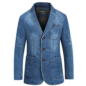 cheap Party Night-Men's Blazer, Solid Colored Notch Lapel Polyester Blue / Light Blue