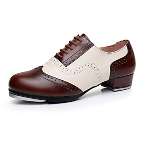 baratos Sapatos de Dança-Homens Sapatos de Dança Couro / Pele Sapatilhas de Sapateado Salto Salto Grosso Personalizável Vermelho Escuro / Espetáculo / Ensaio / Prática