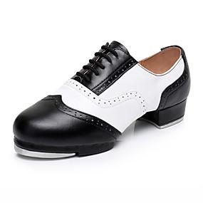 baratos Sapatos de Dança-Homens Sapatos de Dança Couro / Pele Sapatilhas de Sapateado Salto Salto Grosso Personalizável Preto / Branco / Espetáculo / Ensaio / Prática