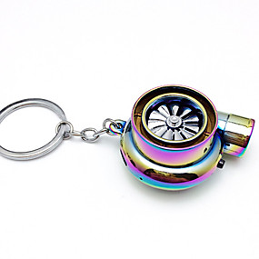 cheap Car Decoration-Creative Electric Turbo Lighter Key Chain USB Rechargeable Cigarette Lighter Key Ring with LED Light and Sound