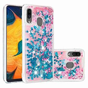 Недорогие Чехлы и кейсы для Galaxy A3(2016)-чехол для samsung galaxy samsung galaxy a70 (2019) / a7 (2018) выкройка / прозрачная / плавная жидкость задняя крышка блестящий блеск / цветочное мягкое тпу для galaxy a30 (2019) / galaxy a50 (2019) /