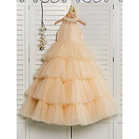 cheap Flower Girl Dresses-Princess Floor Length Flower Girl Dress - Tulle Sleeveless Halter Neck with Beading