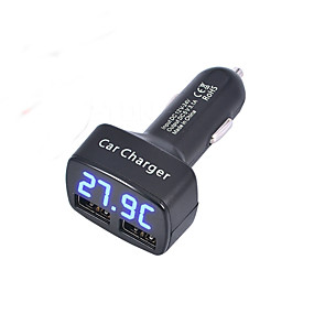 cheap Car Chargers-4 in 1 Dual USB Car Charger DC 5V 3.1A Universal with Voltage/temperature/Current Meter Tester Adapter Digital LED Display