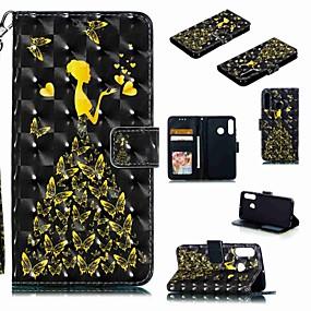 Недорогие Чехлы и кейсы для Huawei Mate-Кейс для Назначение Huawei Huawei Nova 4 / Huawei P20 / Huawei P20 Pro Кошелек / Бумажник для карт / Защита от удара Чехол Бабочка / Соблазнительная девушка Твердый Кожа PU