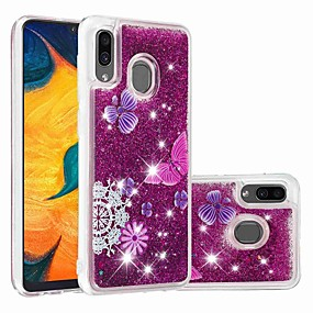 Недорогие Чехлы и кейсы для Galaxy A3(2016)-чехол для samsung galaxy samsung galaxy a70 (2019) / a7 (2018) выкройка / прозрачная / проточная жидкость задняя крышка блестящий блеск / бабочка мягкое тпу для galaxy a30 (2019) / galaxy a50 (2019) /