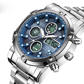 voordelige Merk Horloge-ASJ Heren Sporthorloge Digitaal horloge Quartz Horloge Japans Digitaal Roestvrij staal Zilver 50 m Waterbestendig Alarm Kalender Analoog-Digitaal Luxe Klassiek Modieus Leger - Wit Zwart Blauw Twee