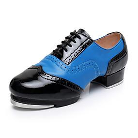 baratos Sapatos de Dança-Homens Sapatos de Dança Couro / Pele Sapatilhas de Sapateado Salto Salto Grosso Personalizável Azul / Espetáculo / Ensaio / Prática