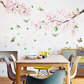 tanie Dekoracyjne naklejki-różowe kwiaty i ptaki naklejki ścienne - 3d naklejki ścienne kwiatowy / botaniczny / krajobraz gabinet / biuro / jadalnia / kuchnia