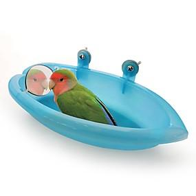 preiswerte Accessoires für Vögel-Vogel Badewanne mit Spiegel Tragbar Leicht zu installieren Kunststoff Vogelspielzeug 18.7*10*3.5 cm