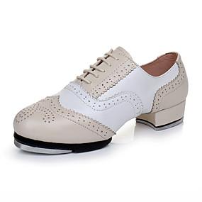 baratos Sapatos de Dança-Homens Sapatos de Dança Couro / Pele Sapatilhas de Sapateado Salto Salto Grosso Personalizável Nú / Espetáculo / Ensaio / Prática