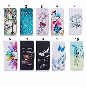 Недорогие Чехлы и кейсы для Galaxy Note 8-Кейс для Назначение SSamsung Galaxy Note 9 / Note 8 / Galaxy Note 10 Кошелек / Бумажник для карт / Защита от удара Чехол Бабочка / Животное / Цветы Кожа PU