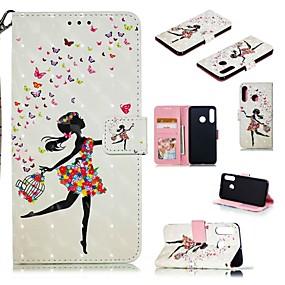 Недорогие Чехлы и кейсы для Huawei Mate-Кейс для Назначение Huawei Huawei Nova 4 / Huawei P20 / Huawei P20 Pro Кошелек / Бумажник для карт / Защита от удара Чехол Соблазнительная девушка Твердый Кожа PU