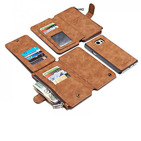 Недорогие Чехлы и кейсы для Galaxy Note 8-Кейс для Назначение SSamsung Galaxy Note 8 / Note 5 Кошелек / Бумажник для карт / Защита от удара Кейс на заднюю панель Однотонный Твердый Настоящая кожа