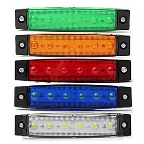 Недорогие Задние фонари-Sencart 4шт белый грузовик боковой габаритный фонарь овальный хром 6 led 24v