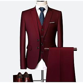 povoljno Noć zabave-Muškarci Veći konfekcijski brojevi odijela, Jednobojni Kragna košulje Poliester Crn / Lila-roza / purpurna boja / Slim
