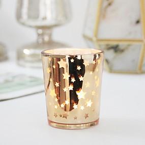 رخيصةأون Home Fragrances-أسلوب بسيط / الطراز الأوروبي زجاج Candle Holders الشمعدانات 12p جيم, شمعة / حامل شمعة