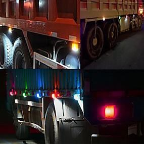 Недорогие Задние фонари-Sencart 4шт белый грузовик боковой габаритный фонарь овальный хром 6 led 12v