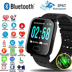 cheap Smart Wristbands-A6S Smart Watch Bluetooth Fitness Tracker Support Notify/ Heart Rate Monitor Sports Smartwatch Compatible Iphone/ Samsung/ Android Phones