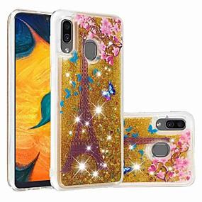 Недорогие Чехлы и кейсы для Galaxy A3(2016)-чехол для samsung galaxy samsung galaxy a70 (2019) / a7 (2018) выкройка / прозрачная / плавная жидкость задняя крышка блестящий блеск мягкое тпу для galaxy a30 (2019) / galaxy a50 (2019) / samsung