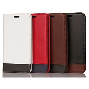 Недорогие Чехлы и кейсы для Galaxy Note 8-Кейс для Назначение SSamsung Galaxy Note 9 / Note 8 / Note 5 Бумажник для карт / Защита от удара / со стендом Чехол Геометрический рисунок Твердый Настоящая кожа
