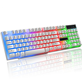 povoljno Tipkovnice-LITBest K6 USB žičani gaming tipkovnica Igranje Vodootpornost Multi Boja pozadinskog osvjetljenja 104 pcs ključevi
