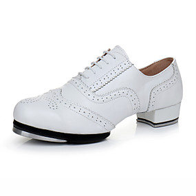 cheap Kids' Shoes-Girls' Dance Shoes Faux Leather Tap Shoes Heel Thick Heel Customizable White / Performance / Practice