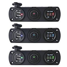 Недорогие Автомобильные зарядные устройства-Автомобильное зарядное устройство DC12V 3.1a с тремя отверстиями и двойным USB-портом Переключатель измеритель напряжения Адаптеры питания Розетка