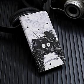 Недорогие Чехлы и кейсы для Galaxy Note 8-Кейс для Назначение SSamsung Galaxy Note 9 / Note 8 / Galaxy Note 10 Кошелек / Бумажник для карт / со стендом Чехол Кот Кожа PU