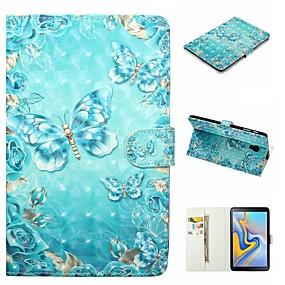 olcso Galaxy Tab E 9.6 tokok-Case Kompatibilitás Samsung Galaxy Galaxy Tab A2 10.5 (2018) T595 T590 / Tab S2 9.7 / Tab E 9.6 Pénztárca / Kártyatartó / Ütésálló Héjtok Pillangó Kemény PU bőr
