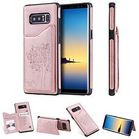 Недорогие Чехлы и кейсы для Galaxy Note 8-Кейс для Назначение SSamsung Galaxy Note 9 / Note 8 Бумажник для карт / Защита от удара / со стендом Кейс на заднюю панель Кот / дерево Твердый Кожа PU