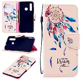 Недорогие Чехлы и кейсы для Huawei серии Y-Кейс для Назначение Huawei Huawei Nova 4 / Honor 10 Lite / Honor 9 Кошелек / Бумажник для карт / Защита от удара Чехол  Перья Твердый Кожа PU