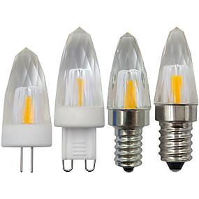 olcso LED gyertyaizzók-1db 3 W LED gyertyaizzók 350 lm E14 G9 G4 1 LED gyöngyök COB Meleg fehér Fehér 220-240 V 110-120 V