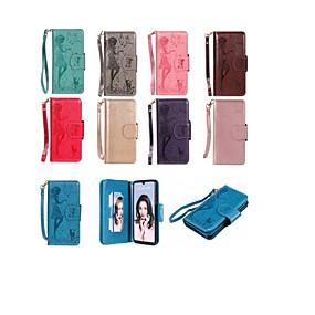 Недорогие Чехлы и кейсы для Huawei серии Y-Кейс для Назначение Huawei Huawei P30 / Huawei P30 Pro / Huawei P30 Lite Кошелек / Бумажник для карт / со стендом Чехол Кот / Соблазнительная девушка Твердый Кожа PU