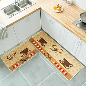 voordelige Matten & Kleedjes-Yiwu pho_08562pcs polyester bedrukt Britse keuken vloermat deurmat voetmat antislip vloermat set 40x60 + 40x120cm set_chef hoed