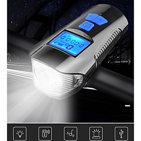 ieftine Lanterne-LED Lumini de Bicicletă Iluminat Bicicletă Față Far de Bicicletă cu Claxon Speedometru Bicicletă Ciclism Rezistent la apă 3 în 1 Moduri multiple Inducție inteligentă 350 lm Reîncărcabil USD Alb / 120