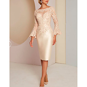 cheap The Wedding Store-Sheath / Column Jewel Neck Knee Length Lace / Satin Long Sleeve Vintage / Plus Size / Elegant Mother of the Bride Dress with Lace 2020