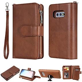 baratos Samsung Galaxy S10-Capinha Para Samsung Galaxy S9 / S9 Plus / S8 Plus Carteira / Porta-Cartão / Antichoque Capa Proteção Completa Sólido Rígida PU Leather
