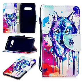 voordelige Galaxy S7 Edge Hoesjes / covers-hoesje Voor Samsung Galaxy S9 / S9 Plus / S8 Plus Portemonnee / Kaarthouder / Schokbestendig Volledig hoesje dier Hard PU-nahka