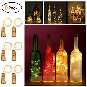 رخيصةأون أضواء شريط LED-أضواء سلسلة زجاجة النبيذ 2m 20 المصابيح smd 0603 الدافئة الأبيض / الأبيض / الأحمر الإبداعية / cuttable / حزب 3 فولت 6 قطع