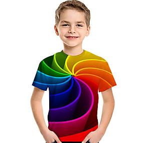 povoljno New Year 2020-Djeca Dijete koje je tek prohodalo Dječaci Aktivan Osnovni Geometrijski oblici Print Color block Print Kratkih rukava Majica s kratkim rukavima Duga