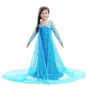 hesapli Cosplay ve Kostümler-Prenses Elsa Elbiseler Çiçekçi Kız Elbisesi Genç Kız Film Kostümleri A-Line Alt Giyimi Desen Elbise tatil elbisesi Beyaz / Mavi / Pembe Elbise Çocukların Günü Maskeli Balo Süs Pulu Pamuk Vual (İnce