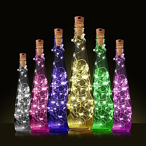 cheap LED Novelty Lights-1PC 2m 20 LED Cork Shaped LED Night Starry Light Copper Wire Stopper Wine Bottle Lamp Decoration Cool Warm White Colorful