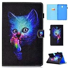 お買い得  Galaxy Tab E 9.6 ケース / カバー-ケース 用途 Samsung Galaxy Tab 4 10.1 / Tab S4 10.5 (2018) / ギャラクシータブA2 10.5(2018)T595 T590 カードホルダー / 耐衝撃 / スタンド付き フルボディーケース 猫 ハード PUレザー