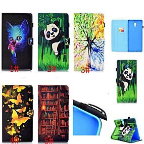 olcso Galaxy Tab E 9.6 tokok-Case Kompatibilitás Samsung Galaxy Tab 4 10.1 / Tab S4 10.5 (2018) / Galaxy Tab A2 10.5 (2018) T595 T590 Kártyatartó / Ütésálló / Állvánnyal Héjtok Cica / Pillangó / Panda Kemény PU bőr