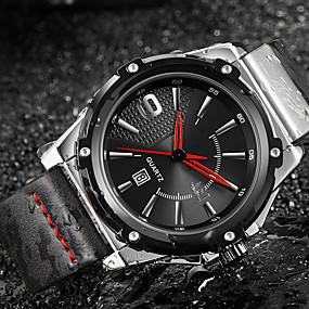 Недорогие Фирменные часы-ASJ Муж. Нарядные часы Японский Японский кварц Натуральная кожа Черный 100 m Защита от влаги Календарь Аналоговый Классика На каждый день Мода - Черный Серебро / черный Один год Срок службы батареи
