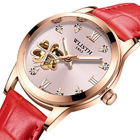 olcso Mechanikus óra-Női mechanikus Watch Automatikus önfelhúzós Stílusos Valódi bőr Fehér / Piros / Pink 30 m Vízálló Üreges gravírozás Kreatív Analóg Csontváz - Rubin Fehér+Piros Fehér+Rózsaszín