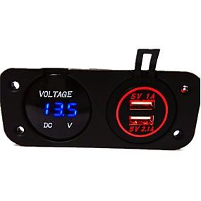 Недорогие Автомобильные зарядные устройства-dc12v 3.1a водонепроницаемый автомобильное зарядное устройство с двумя отверстиями панели с двумя светодиодными USB-портами светодиодный цифровой дисплей вольтметр грузовик автомобиль мотоцикл розетка