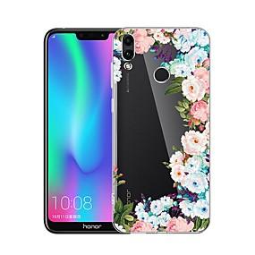 Недорогие Чехлы и кейсы для Huawei Mate-Кейс для Назначение Huawei Huawei Honor 10 / Huawei Honor 8X / Huawei Honor 8A Защита от удара / Прозрачный / С узором Кейс на заднюю панель Цветы Мягкий ТПУ